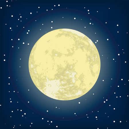 croissant de lune: image de la Lune dans la nuit.  Illustration
