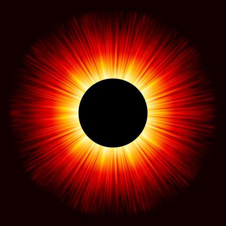 totales: Eclipse brillante sobre un fondo negro s�lido. Vectores