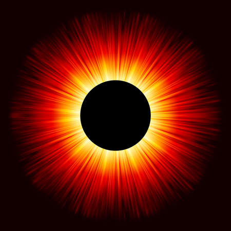 Glowing eclipse on a solid black background. Vector