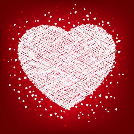 weaving: Weaving white heart card.   Illustration