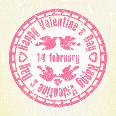 Pink grunge rubber stamp Valentines Day. EPS 8 Vector