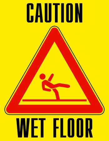 caretaker: Bright yellow wet floor sign.