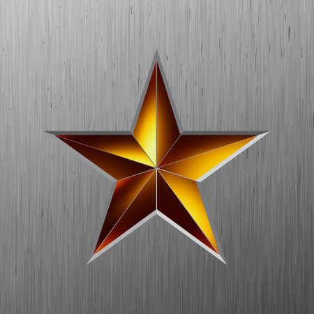 lamiera metallica: Gold star metallico su uno sfondo metallico  Vettoriali