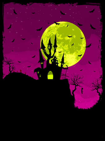 Scary Halloween Castle with Copy Space. Stock Vector - 8714897