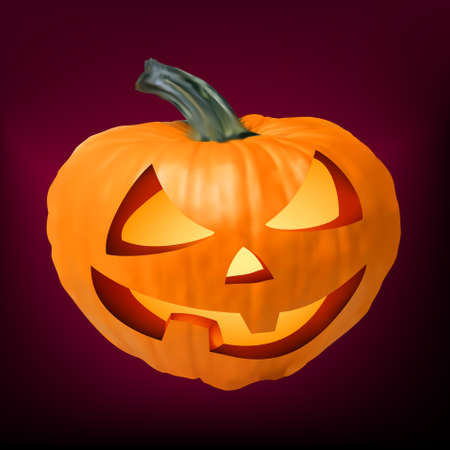 jack o: a ceramic halloween jack o lantern pumpkin.  Illustration