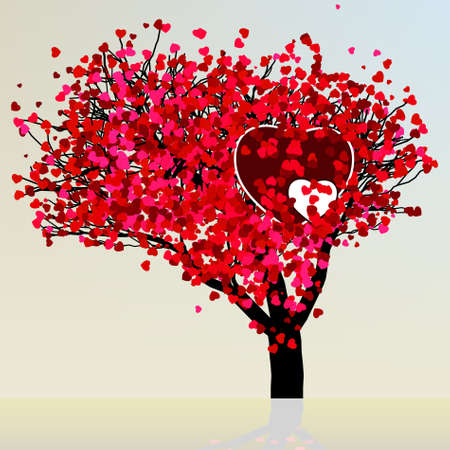 rose bush: Valentine tree beautiful design template.