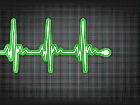 infarctus: Cardiogramme de coeur avec ombre sur elle rouge profond.