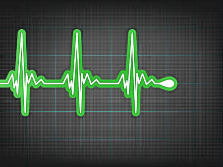 Heart cardiogram with shadow on it deep red.  Vector