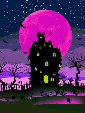 Sfondo di Halloween sgangherato con la casa stregata, pipistrelli e luna piena.