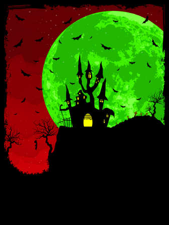 Grungy Halloween background with haunted house, bats and full moon.