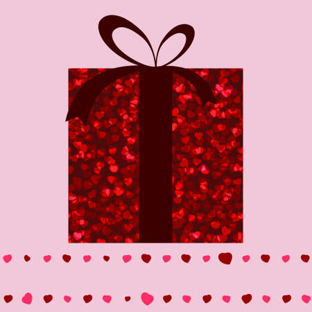 Red gift box and hearts valentine card template.   Vector
