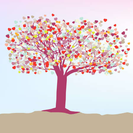 Romantic tree with hearts template card.  Vector