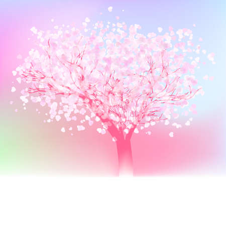 Stylized love tree made of hearts with copy space.  Vector