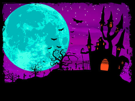 monsters house: Halloween poster with zombie background.   Illustration