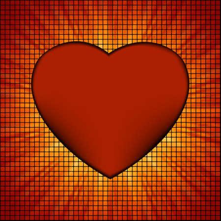 Burst Mosaic heart card template.  photo
