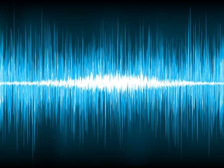 geluid: Geluidsgolven oscillerende op zwarte achtergrond. EPS-8 vector bestand opgenomen Stock Illustratie