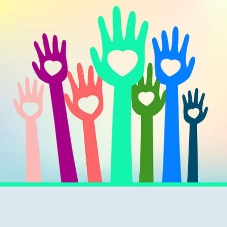 loving hands: Colorful loving hands with copy space. EPS 8 vector file included