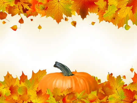 Colorful autumn card template leaves with Pumpkin and copy space.