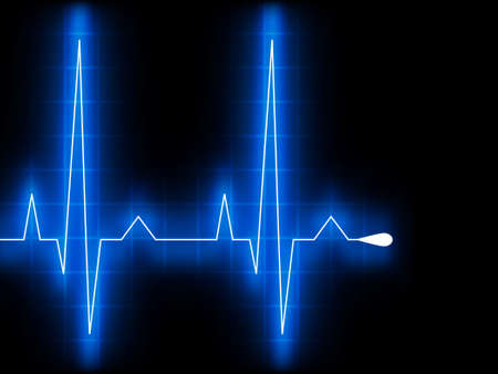 ekg: Blue heart beat. Ekg graph. Illustration