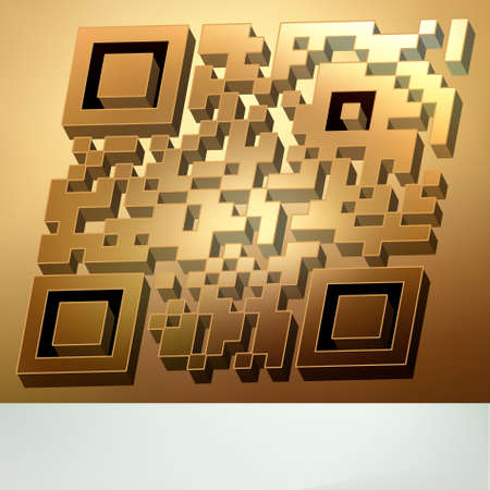 Gold 3D qr code for item in sale (modern bar codes). Stock Vector - 9132961