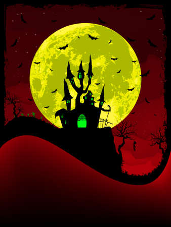 Scary halloween vector with magical abbey.   Vector