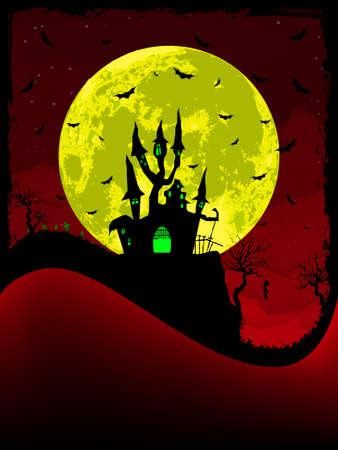 obscure: Vector de miedo halloween con Abad�a m�gica.