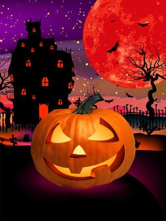 Vrolijk Halloween Halloween, hefboom o lantaarn. Stock Illustratie