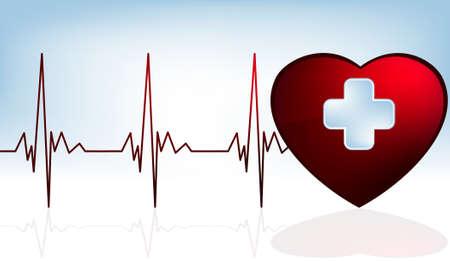 leven en dood: Hart en heartbeat symbool op reflecterend oppervlak. EPS-8 vector bestand opgenomen Stock Illustratie