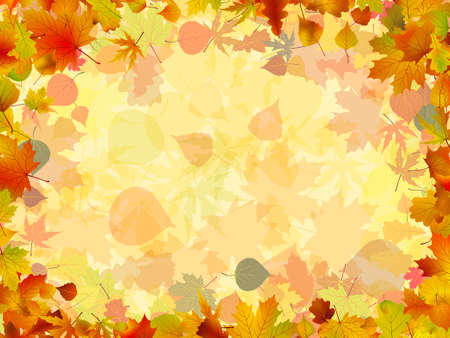 formed: A frame formed by colorful autumn leaves. EPS 8 vector file included