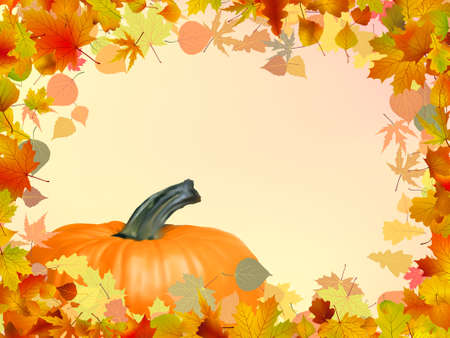 Colorful autumn card template leaves with Pumpkin and copy space. EPS 8 vector file included Vector