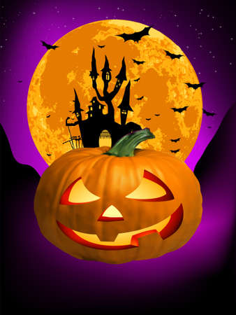 Vector Haunted House on a Graveyard hill at night with full moon. EPS 8 vector file included Stock Vector - 9250729