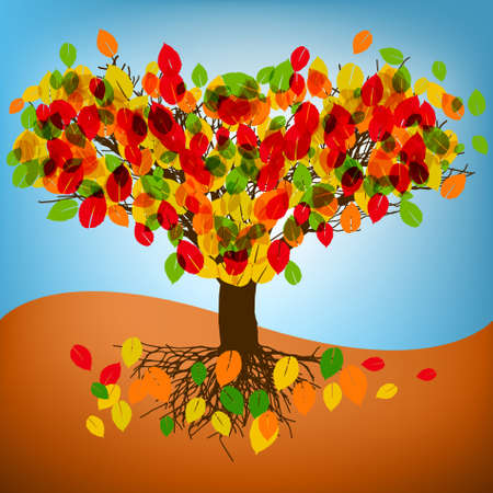 abstract autumn tree drawing with colorful leafs. EPS 8 vector file included Stock Vector - 9250724