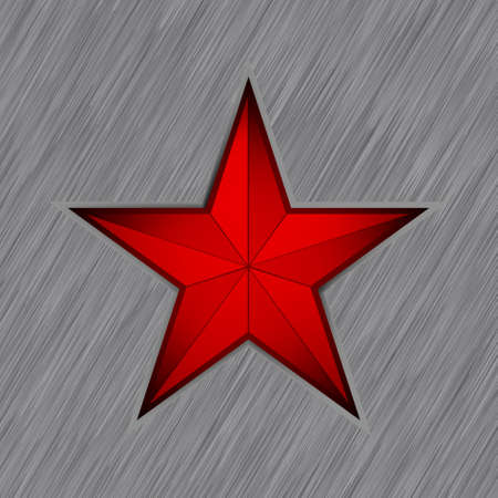 Red star with in steel background.  Vector