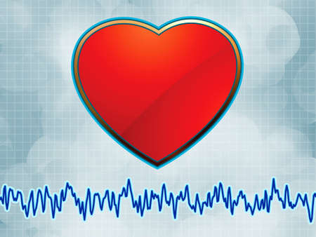 Heart and heartbeat symbol cardiogram.  Vector