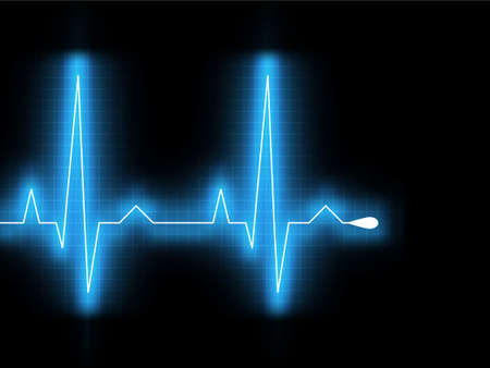 Heartbeat glow on a black monitor. Stock Vector - 9527895