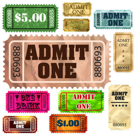 Set of vintage and modern ticket admit one. Vector