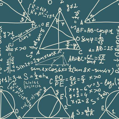 signos matematicos: Matem�ticas y f�rmulas trigonom�tricas. Patr�n sin fisuras. EPS 8 archivo vectorial incluido