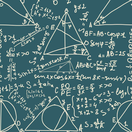 mathematical: Math and trigonometrical Formulas. Seamless pattern. EPS 8 vector file included