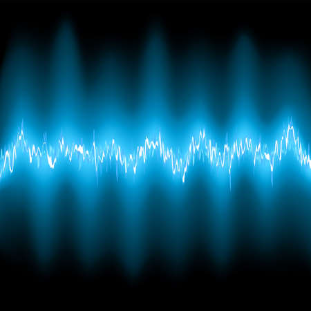 audiowave: Abstract blue glow Frequency Waveforms. EPS 8 vector file included Illustration