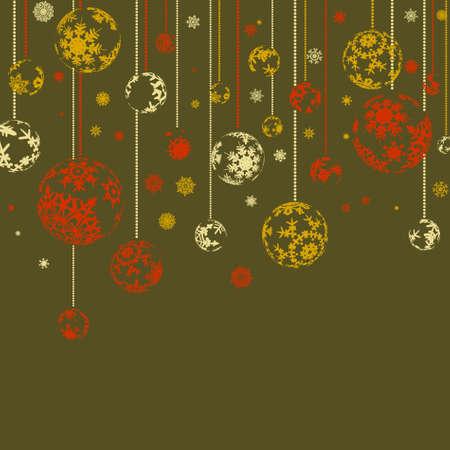 Tarjeta retro vintage con bolas de Navidad. Archivo de 8 EPS vectoriales incluido Ilustración de vector