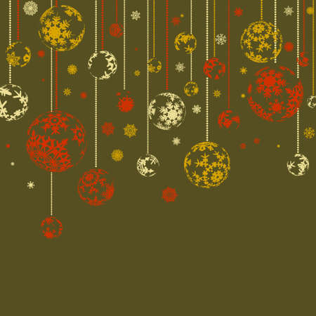 Vintage retro card with Christmas balls. EPS 8 vector file included Vector