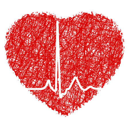scribble: Heart scribble with heart beat. EPS 8 vector file included Illustration
