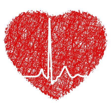 Garabato de corazón con latidos cardíacos. Archivo de 8 EPS vectoriales incluido
