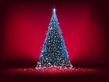 �rbol de Navidad abstracto, con estrellas, copos de nieve y resplandor de luz. Archivo de 8 EPS vectoriales incluido Foto de archivo - 9570825