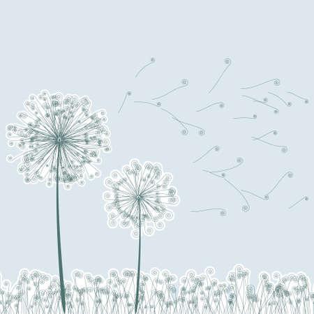 offspring: Vintage two dandelions in wind on light blue background. EPS8. To see similar visit my portfolio