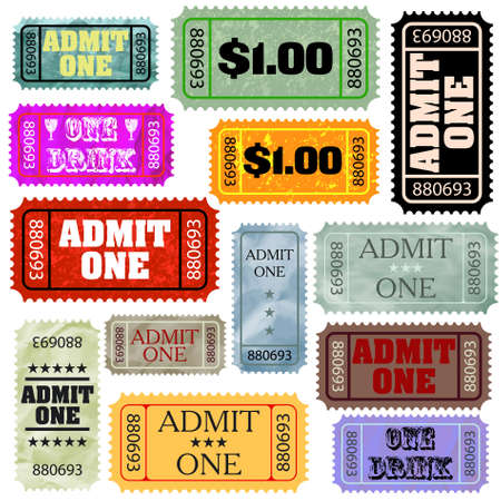 admit: Tickets in different styles template set.