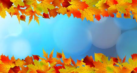 Red and yellow leaves against a bright blue sky. Bokeh effect. Stock Vector - 9714074