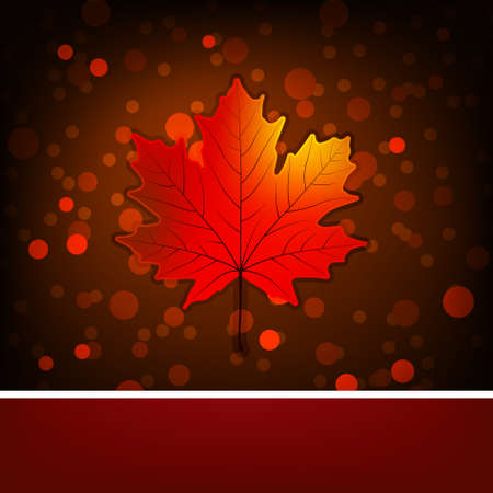 Card with autumn maple leaf template. Stock Vector - 9714082