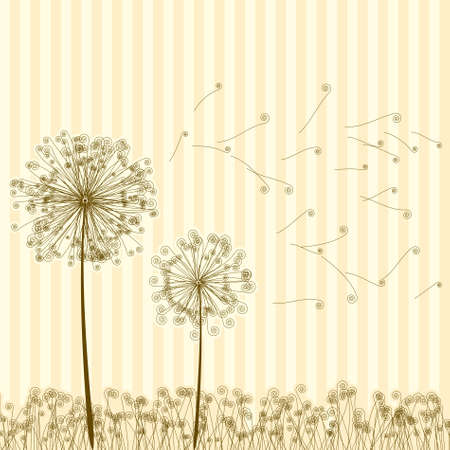 weed: Vintage two dandelions in wind on light blue background.