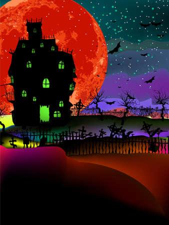gruselig: Grunge Halloween Hintergrund mit Spukhaus, Flederm�use und Vollmond. Illustration